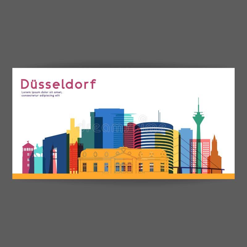 Architektur-Vektorillustration Dusseldorf bunte lizenzfreie abbildung