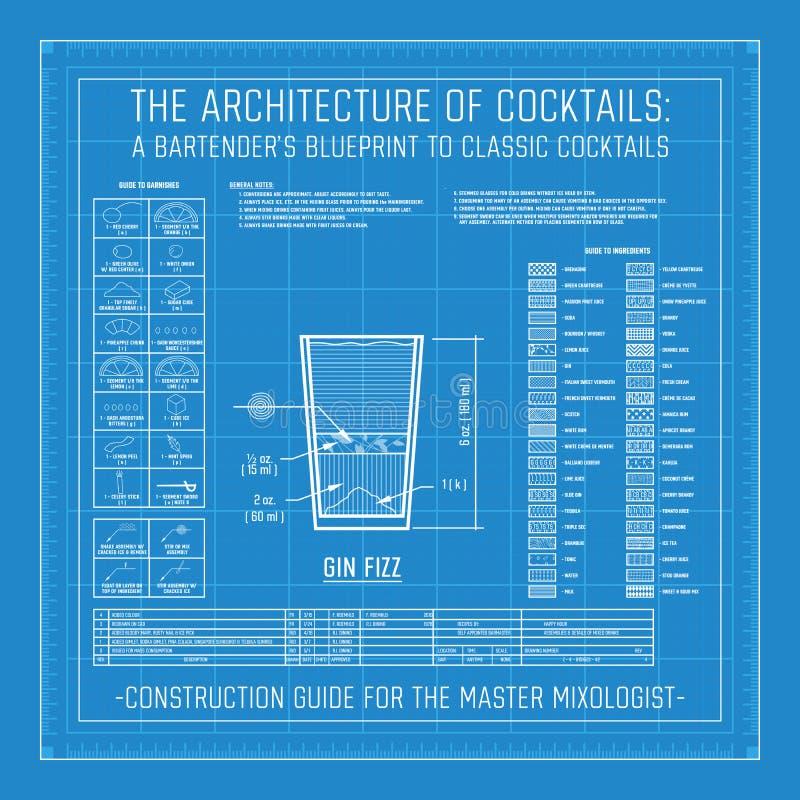 Architektur von Cocktails der Plan eines Barmixers zu den klassischen Cocktails stock abbildung
