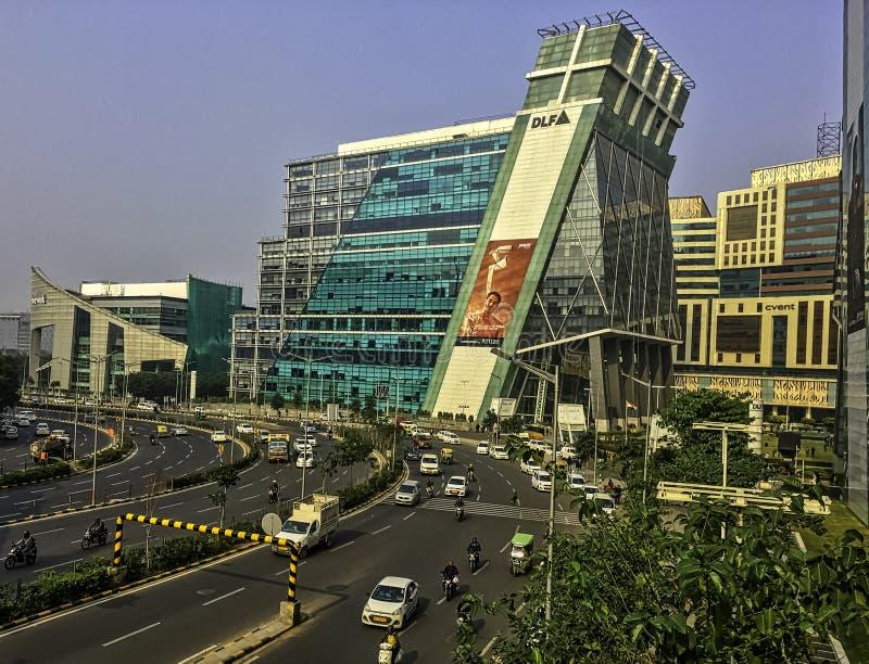 Architektur von Cyber Stadt oder Cyberhub in Gurgaon, Neu-Delhi, Indien lizenzfreie stockfotografie