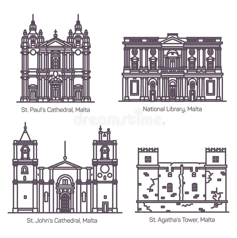 Architektur von Malta in der dünnen Linie Kathedrale vektor abbildung