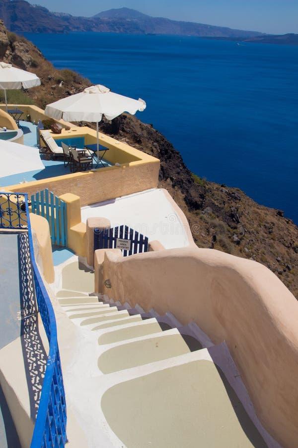 Architektur von Oia-Dorf auf Santorini, Griechenland stockbilder