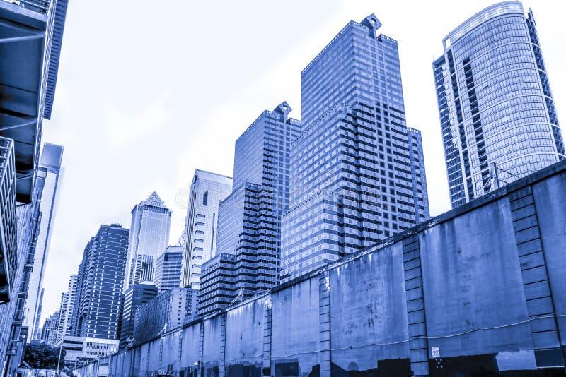Architektur von Philadelphia, blaues Monochrom lizenzfreies stockbild