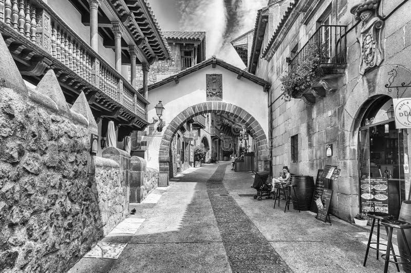 Architektur von Poble Espanyol auf Montjuic-Hügel, Barcelona, Cata stockbild
