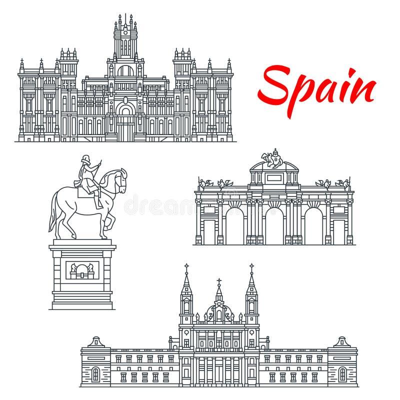 Architektur von Spanien-Gebäudevektorikonen stock abbildung