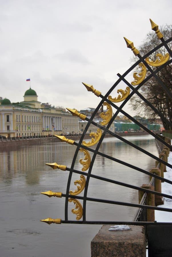 Architektura święty Petersburg, Rosja fontanka rzeki bulwar obrazy stock