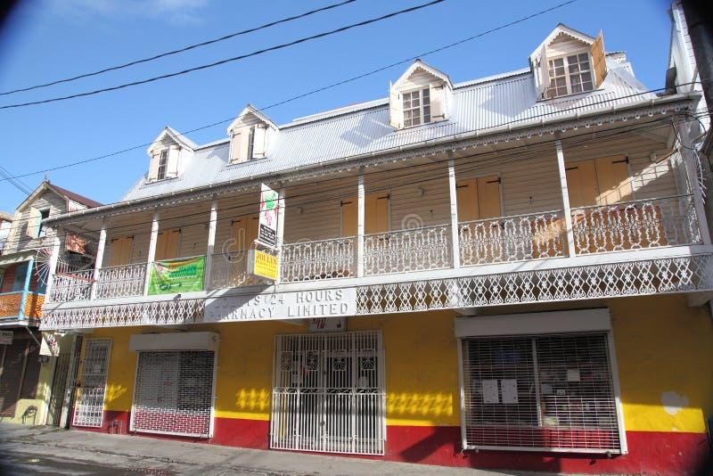 Architektura budynki w Dominica, wyspy karaibskie obraz stock