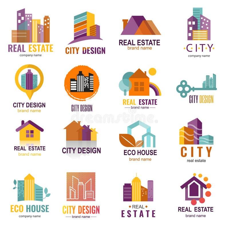 Architektura budynku drapacza chmur budowy budowniczego przedsiębiorcy budowlanego loga odznaki nieruchomości firmy agencyjny wek ilustracji