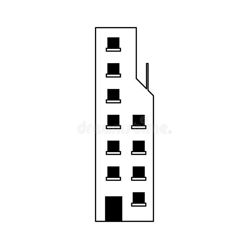 Architektura budynku nowożytna miastowa kreskówka w czarny i biały ilustracja wektor