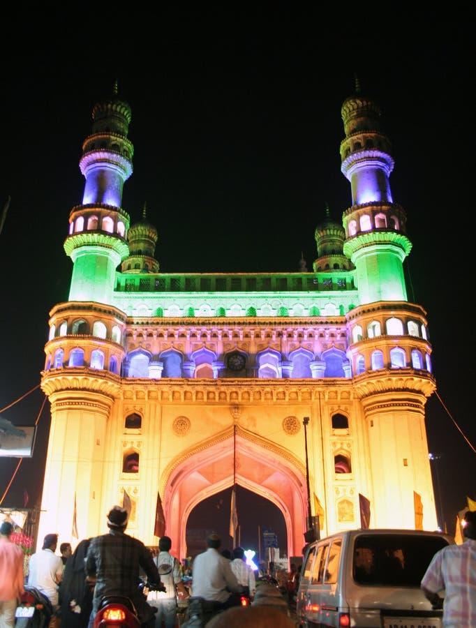 Architektura dziedzictwo gruntowa ocena Charminar, Ap, India. Iluminujący podczas UN konferenci Parties-11 obrazy stock