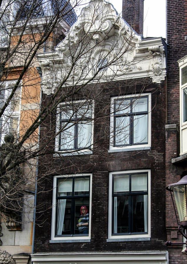 Architektura Holandia Budynki i kanały w Amsterdam obraz stock