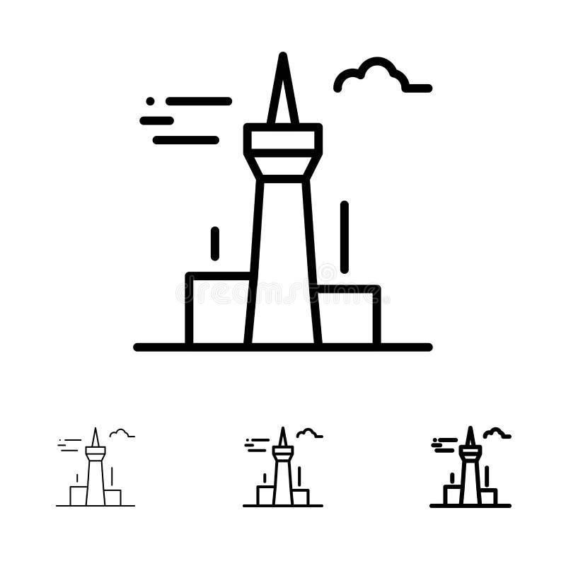 Architektura i czerni linii ikony set miasta, budynków, Kanada, wierza, punktu zwrotnego, Śmiały i cienki ilustracja wektor