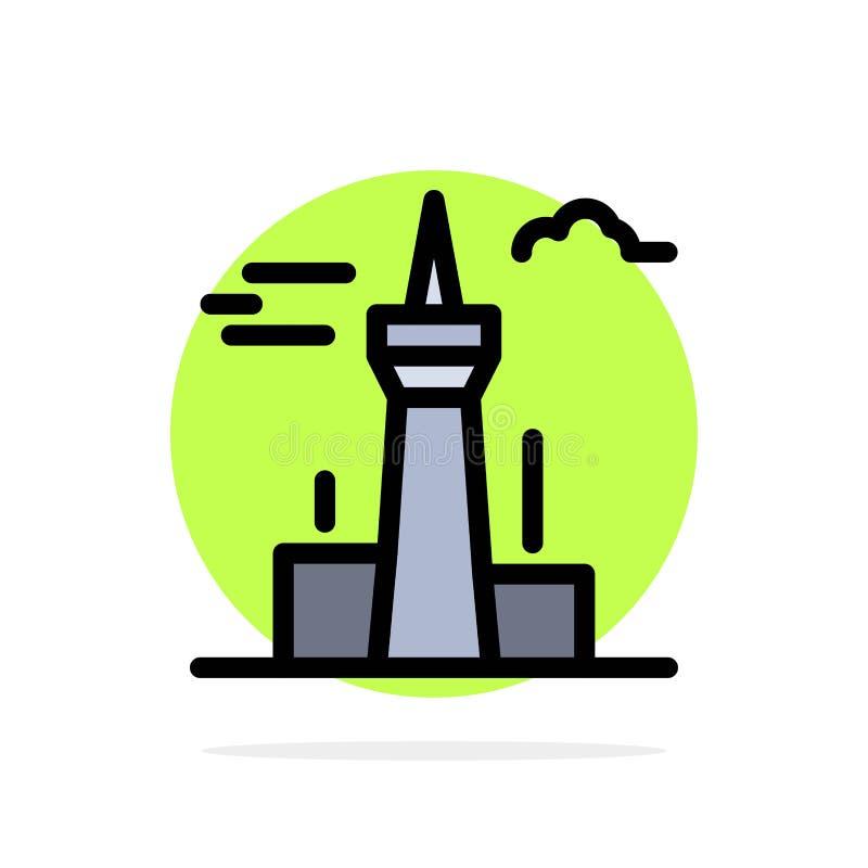 Architektura i miasto, budynki, Kanada, Wieża, Ikona płaskokolorowego tła o orientacji pozornej royalty ilustracja