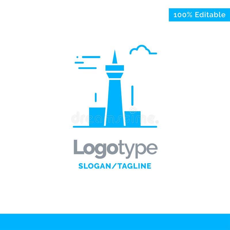 Architektura i miasto, budynki, Kanada, Wieża, Niebieski Szablon Logo Solid Miejsce na znacznik royalty ilustracja