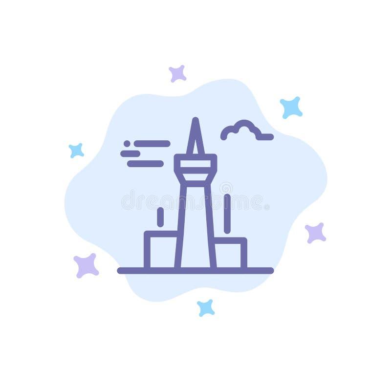 Architektura i miasto, budynki, Kanada, wierza, punkt zwrotny Błękitna ikona na abstrakt chmury tle royalty ilustracja