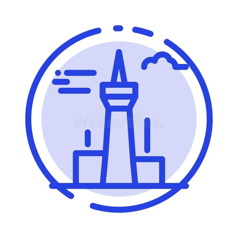 Architektura i miasto, budynki, Kanada, wierza, punkt zwrotny linii linii błękit Kropkująca ikona ilustracji
