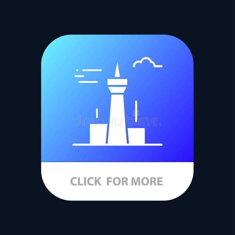 Architektura i miasto, budynki, Kanada, wierza, punktu zwrotnego App Mobilny guzik Android i IOS glifu wersja royalty ilustracja
