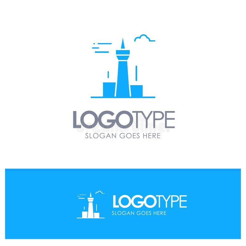 Architektura i miasto, budynki, Kanada, wierza, punktu zwrotnego Błękitny Stały logo z miejscem dla tagline ilustracji