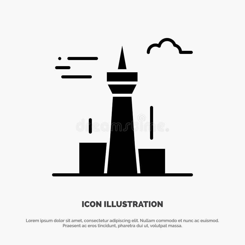 Architektura i miasto, budynki, Kanada, wierza, punktu zwrotnego glifu ikony stały wektor ilustracja wektor