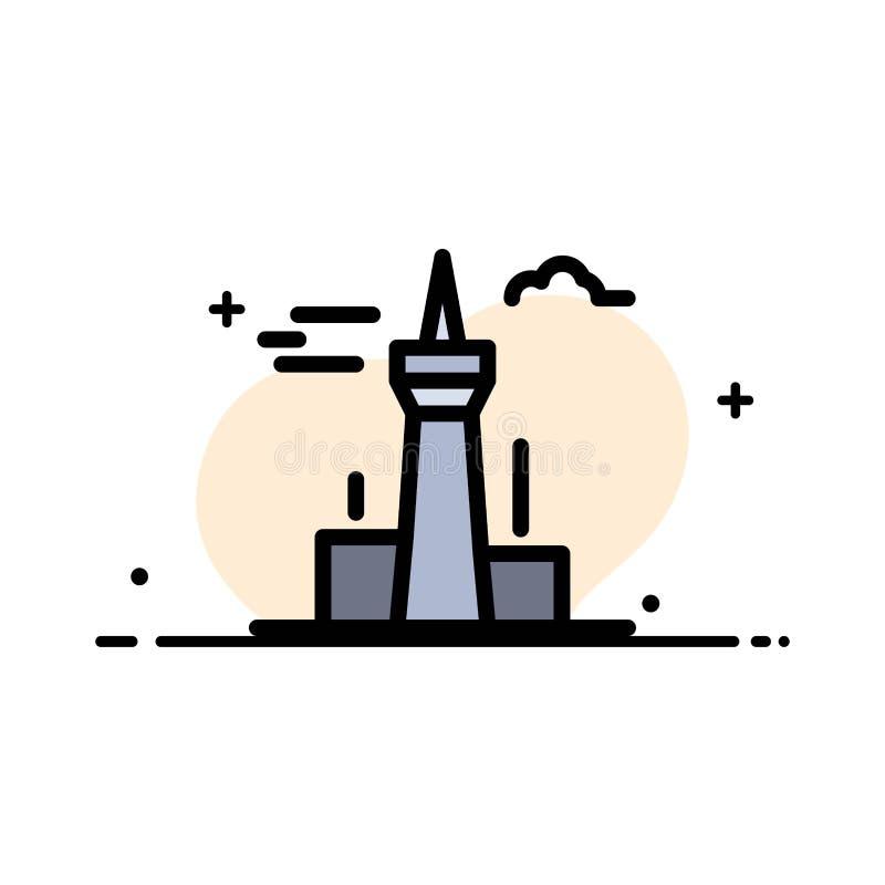 Architektura i miasto, budynki, Kanada, wierza, punktu zwrotnego mieszkania ikony sztandaru Biznesowa linia Wypełniający Wektorow ilustracji