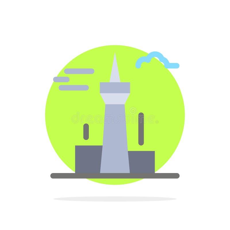 Architektura i miasto, budynki, Kanada, wierza, punktu zwrotnego okręgu Abstrakcjonistycznego tła koloru Płaska ikona ilustracja wektor