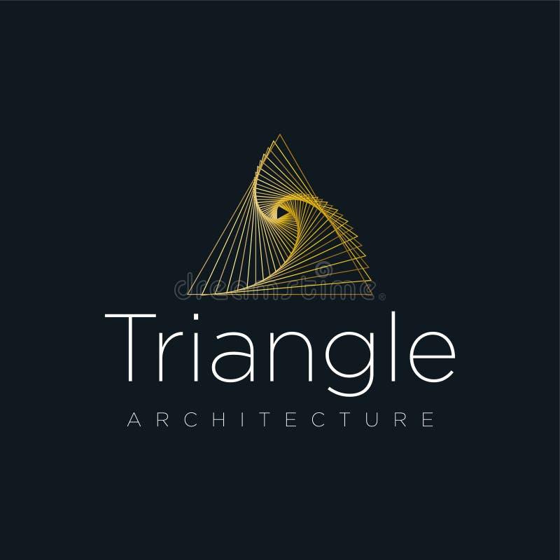 Architektura loga firma, trójboka loga pojęcie, logo z liniami, złoty logo ilustracji