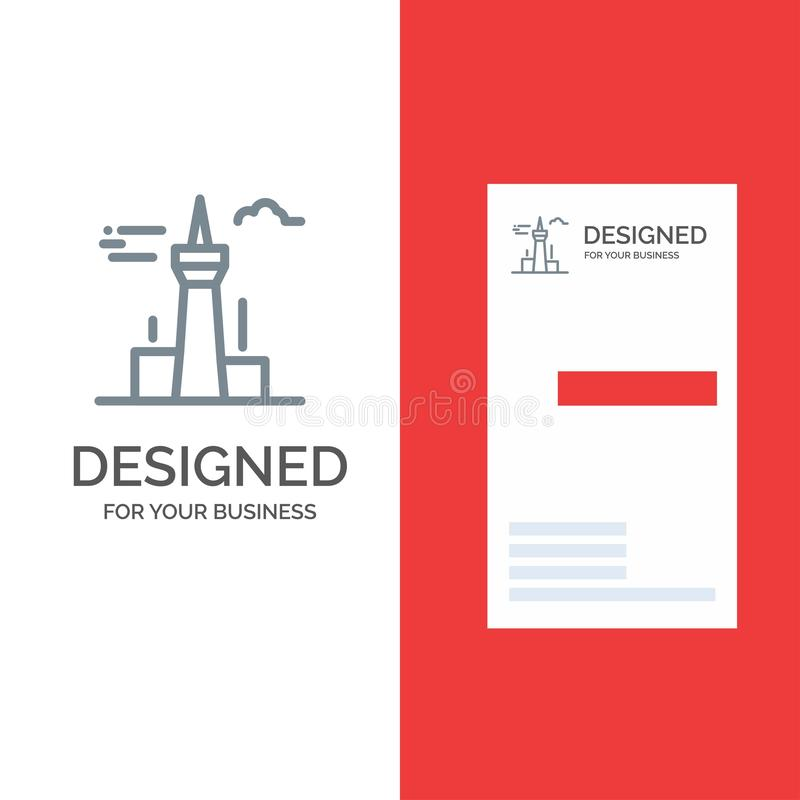 Architektura, miasto, budynki, Kanada, wierza, punktu zwrotnego logo Popielaty projekt i wizytówka szablon, ilustracja wektor