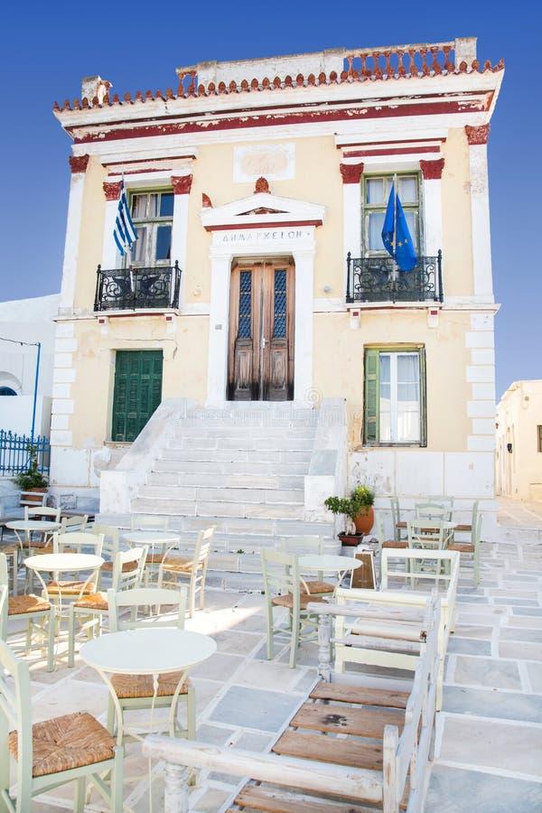 Architektura na Cyclades Urząd Miasta Serifos na grku fotografia stock