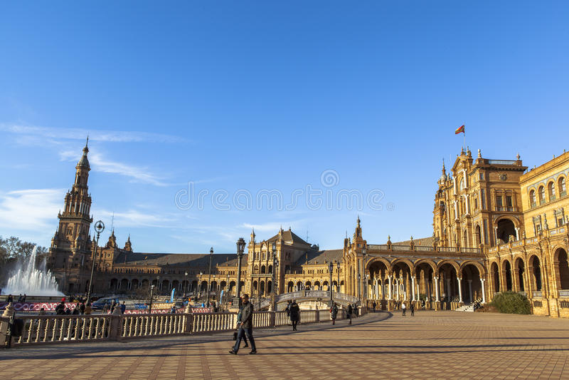 Architektura Plac De Espana, Sevilla, Hiszpania obraz royalty free