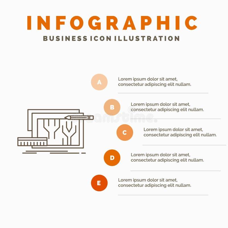 Architektura, projekt, obwód, projekt, konstruujący Infographics szablon dla strony internetowej i prezentacji Kreskowa Szara iko royalty ilustracja