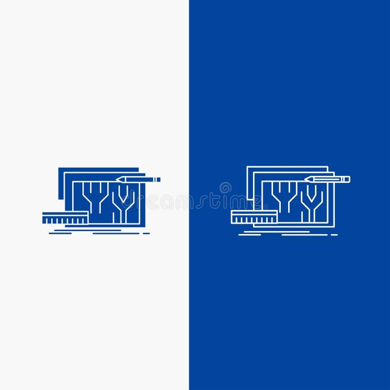 Architektura, projekt, obwód, projekt, konstruujący linii i glifu sieć guzik w Błękitnego koloru Pionowo sztandarze dla UI i UX, ilustracja wektor