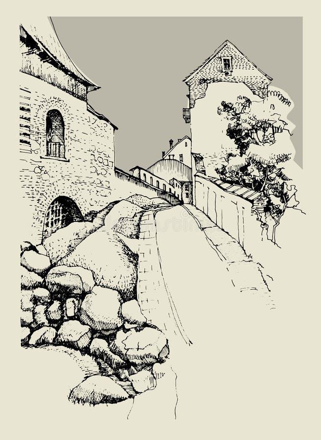 Architektura stary miasteczko ilustracji