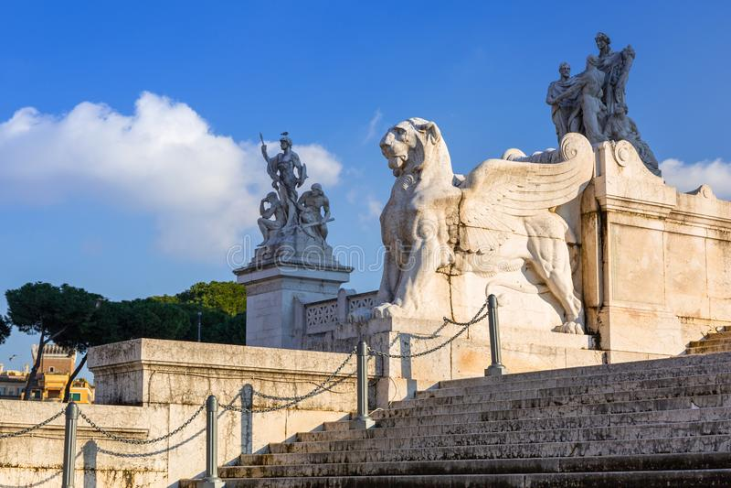 Architektura Vittorio Emanuele II zabytek w Rzym, Włochy obraz royalty free