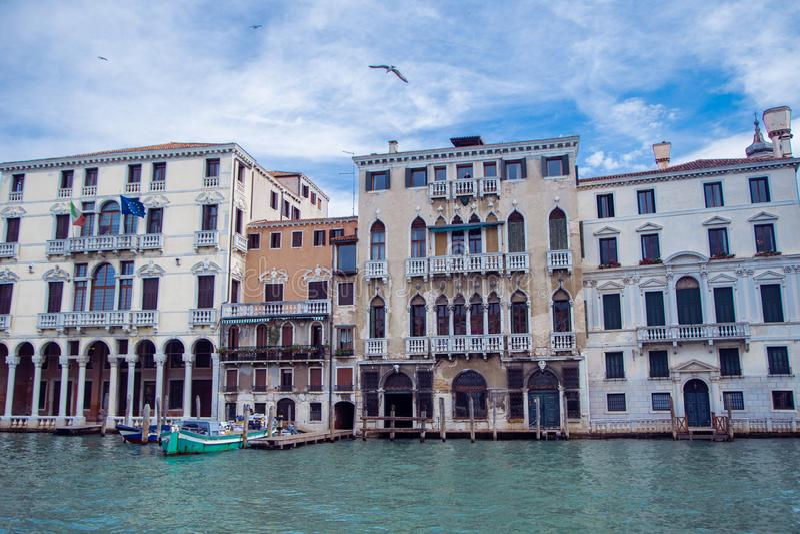 Architektura Wenecji wzdłuż Wielkiego Kanału zdjęcia royalty free