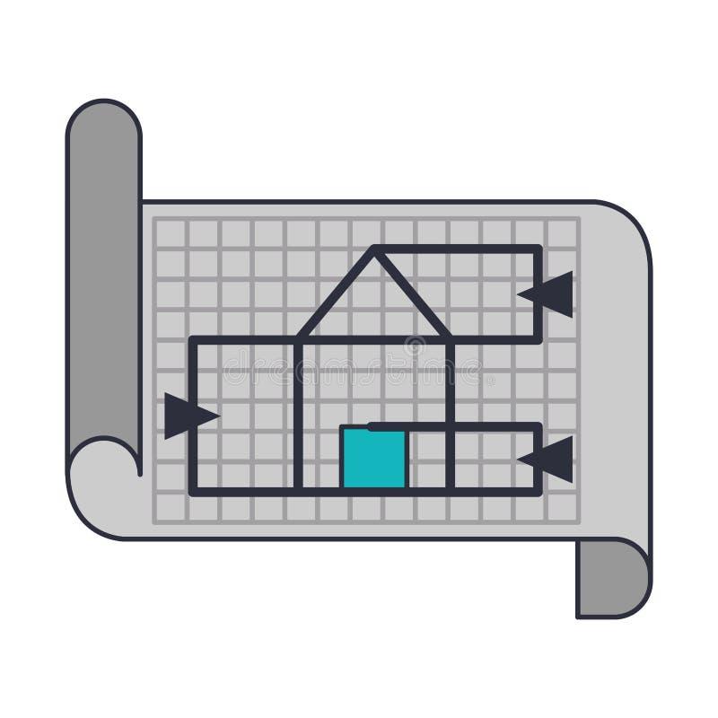 Architekturarbeits-Elementkarikatur vektor abbildung