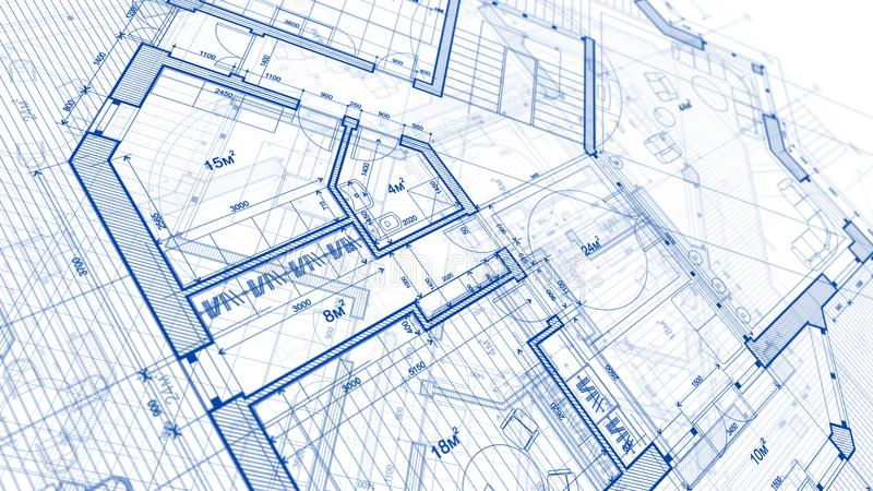 Architekturdesign: Planplan - Illustration eines Planumb. stock abbildung