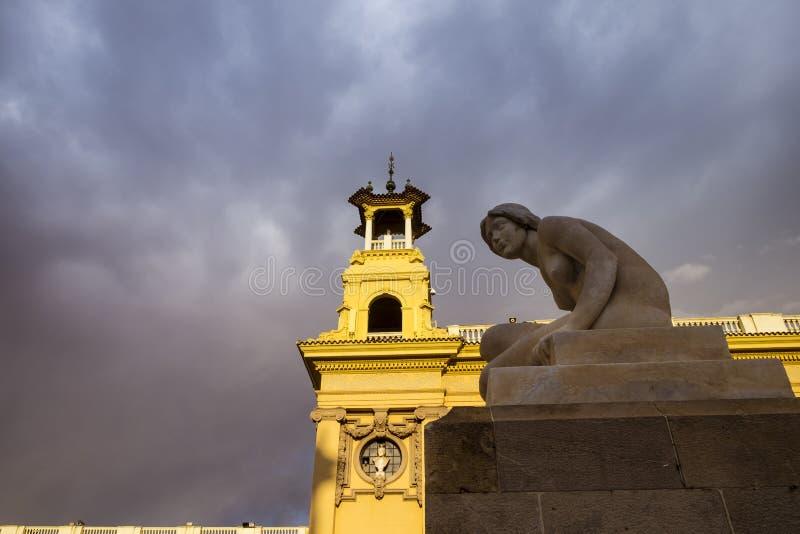 Architekturdetail in Montjuic Barcelona stockfotografie