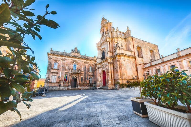 Architekturdetails von Kirche Sans Giuseppe in Ragusa lizenzfreie stockfotografie