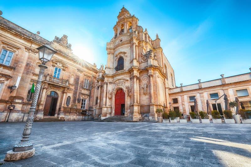 Architekturdetails von Kirche Sans Giuseppe in Ragusa stockfoto