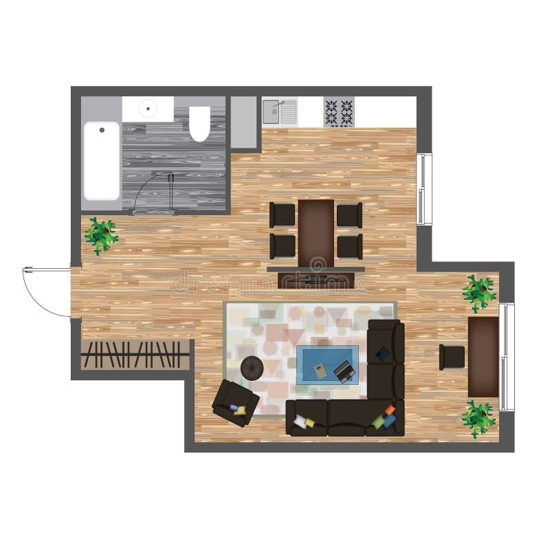 Architekturfarbgrundriss Studio-Wohnungs-Vektor-Illustration Draufsicht-Möbel-Satz Wohnzimmer, Küche, Badezimmer Sofa stock abbildung