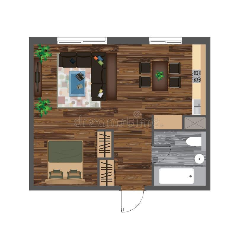 architekturfarbgrundriss studio wohnungs vektor illustration draufsicht m bel satz wohnzimmer. Black Bedroom Furniture Sets. Home Design Ideas