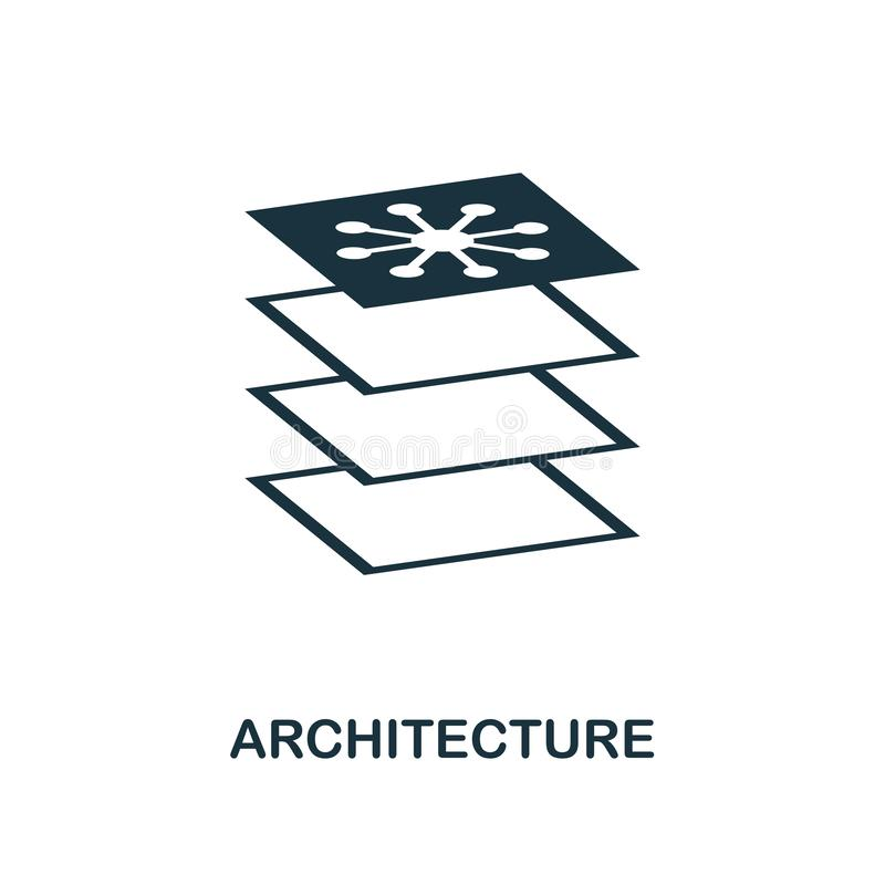 Architekturikone Einfarbiger Artentwurf von der Lernfähigkeit- einer Maschineikonensammlung UI und UX Perfekte Architekturikone d lizenzfreie abbildung