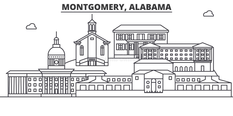 Architekturlinie Skylineillustration Alabamas, Montgomery Lineares Vektorstadtbild mit berühmten Marksteinen, Stadtanblick lizenzfreie abbildung