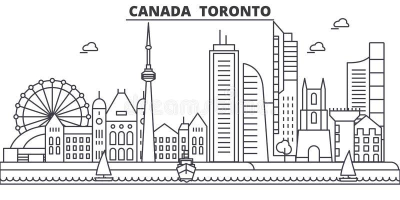 Architekturlinie Skylineillustration Kanadas, Toronto Lineares Vektorstadtbild mit berühmten Marksteinen, Stadtanblick lizenzfreie abbildung