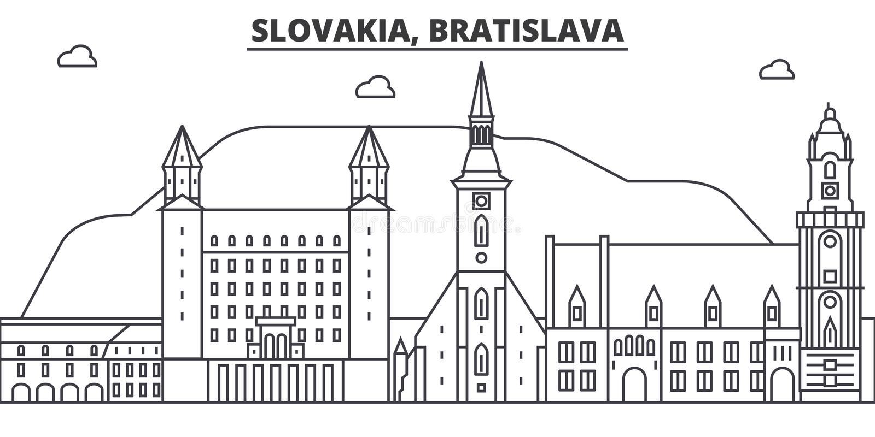 Architekturlinie Skylineillustration Slowakei, Bratislava Lineares Vektorstadtbild mit berühmten Marksteinen, Stadtanblick lizenzfreie abbildung
