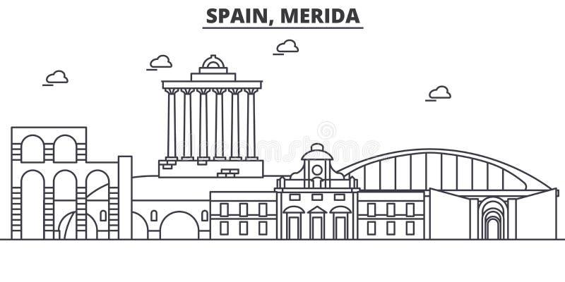Architekturlinie Skylineillustration Spaniens, Mérida r stock abbildung