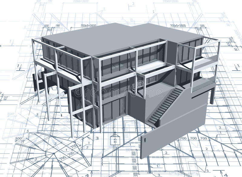 Architekturmusterhaus mit Plan. Vektor vektor abbildung