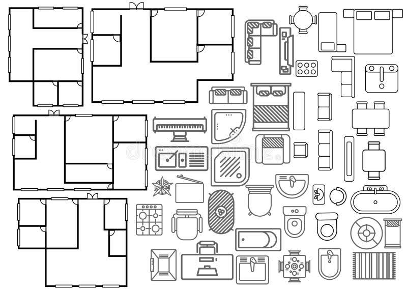 Architekturplan in der Draufsicht stock abbildung