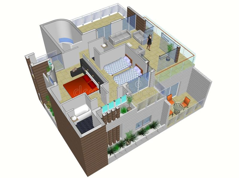 Architekturplan des Hauses stock abbildung