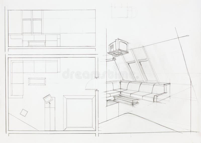 Architekturplan des Wohnzimmers stock abbildung
