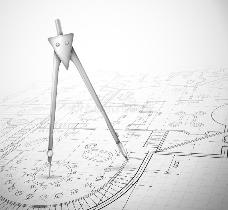 Architekturplan mit Kompaß stock abbildung